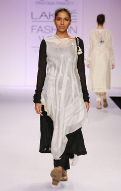 White & black chikankari kurta with palazzo