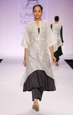 White & grey dori work kurta with palazzo