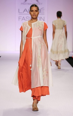 White & orange embroidered kurta with palazzo
