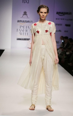 Off-white & gold sequins embroidered yoke kurta set