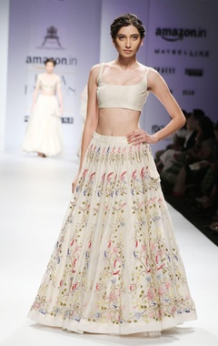White & pink floral embroidered lehenga set