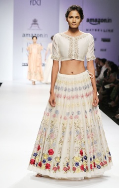 White & pink dabka floral embroidered blouse & lehenga set