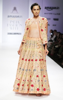 Peach floral embroidered jacket & lehenga set