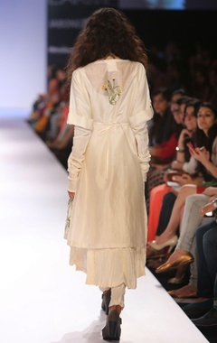 Ivory embroidered tunic with anarkali & pants