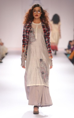 Grey anarkali with palazzo pants, ivory embroidered tunic & red shirt