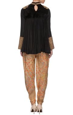 Black tunic & orange printed dhoti pants