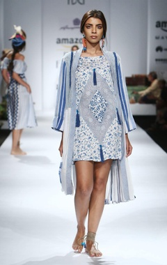 white & blue printed & tassel embellished dress with jacket
