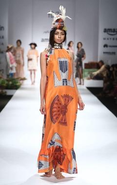 orange, blue & white printed maxi dress