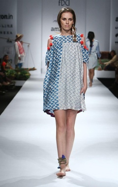 Blue, white & orange printed cold-shouldered dress
