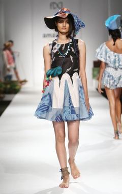 black, blue & white printed & frilled dress