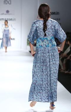 Blue & white printed long maxi dress