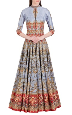 Blue & red digital baroque printed anarkali