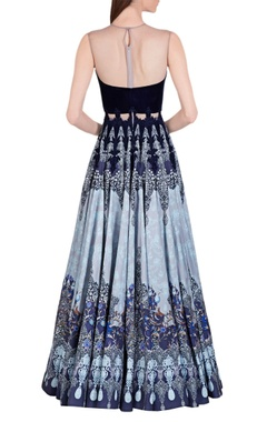 Blue & grey printed gown
