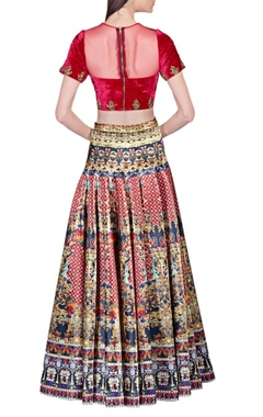 Red & gold embroidered cutwork crop top