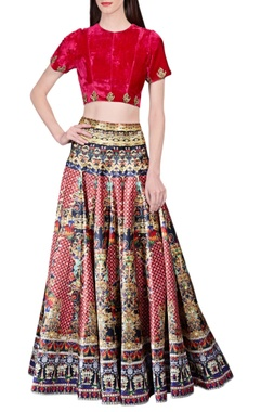 Multicolored jewel printed skirt
