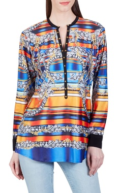 Tangerine orange & blue jewel printed top