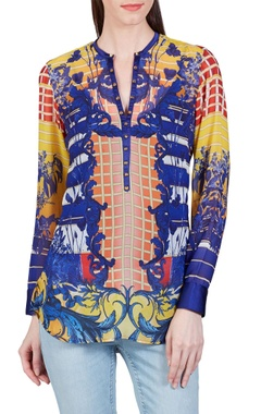 Falguni Shane Peacock Yellow, orange & blue baroque printed top