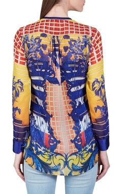 Yellow, orange & blue baroque printed top