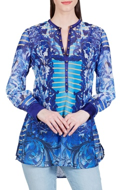 Falguni Shane Peacock Blue baroque printed top