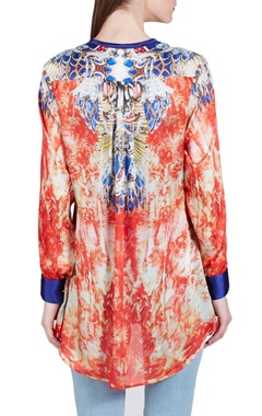 Light orange & blue abstract printed top