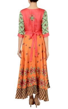 Fern green & orange motif printed dress