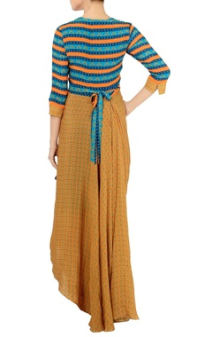 cerulean blue & sand printed drape maxi dress