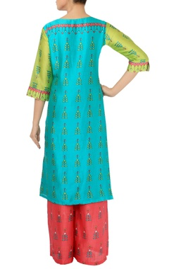Leaf green, turquoise & pink printed tunic with palazzos