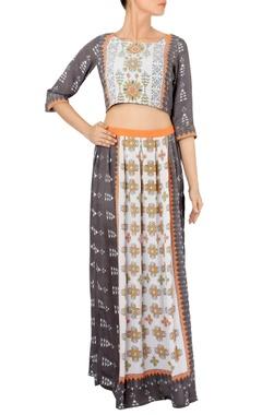 Ash grey & orange printed crop top with skirt