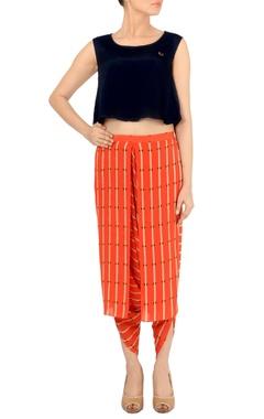 Black crop top with orange printed dhoti pants