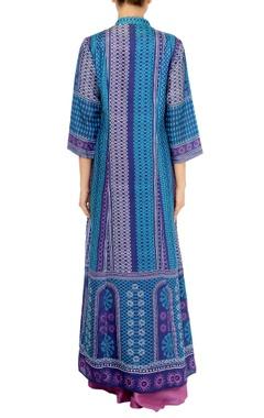 cobalt blue & mauve maxi dress with inner
