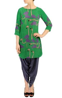 Emerald green flamingo print tunic with dhoti pants