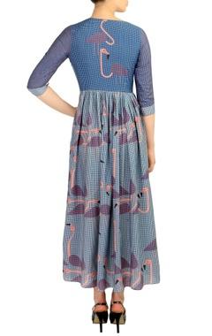 Blue flamingo print maxi dress