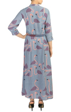 blue printed maxi dress with tie up belt