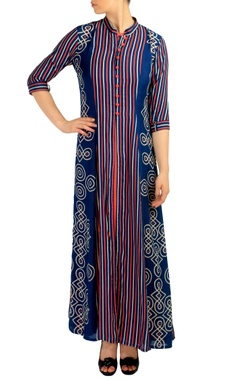 Blue & orange striped print maxi dress