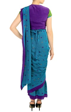 Blue printed sari with attached blouse