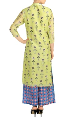 Light green printed kurta & blue palazzos