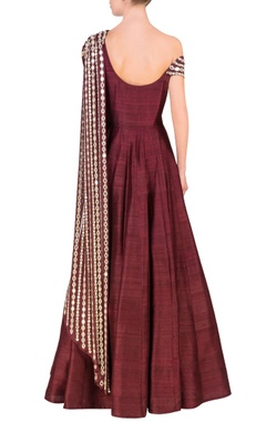 wine embellished one-shouldered anarkali
