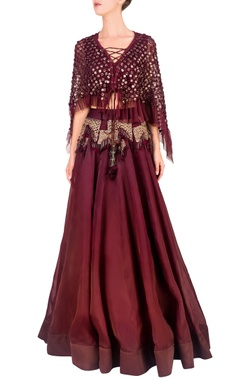Wine embellished cape & skirt set