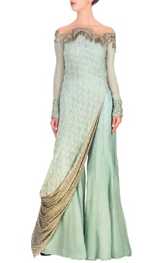 Sage blue embroidered asymmetric tunic with palazzos
