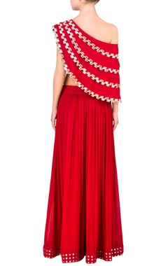 Red mirror embellished cape & palazzo pants