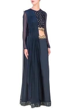 deep blue embellished cutout jumpsuit