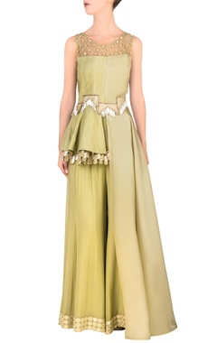 Pista green side-flared peplum top & palazzo pants