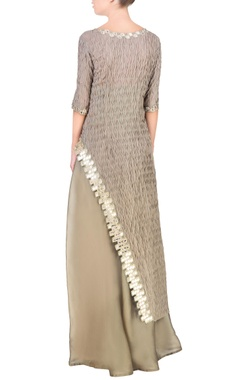 Grey asymmetric kurta with palazzo pants