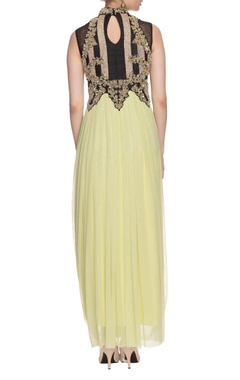 Sage green, black & gold embellished draped dress