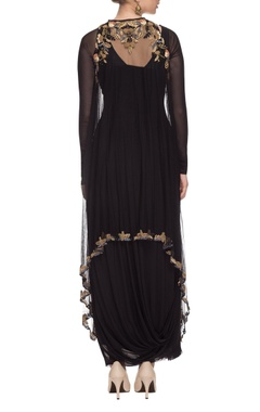 black draped dress with embellished cape
