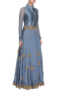 Frosted blue & gold embellished collared dress