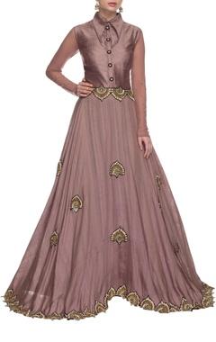 frosted lavendar & gold embellished collared dress