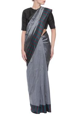Grey handwoven jacquard sari with threadwork