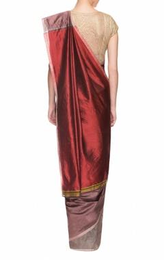 mauve & maroon handwoven sari with thin border