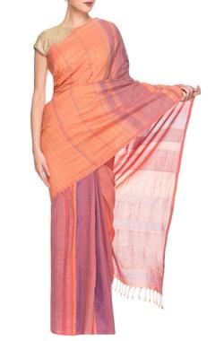 orange & purple striped handwoven sari